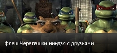 флеш Черепашки ниндзя с друзьями